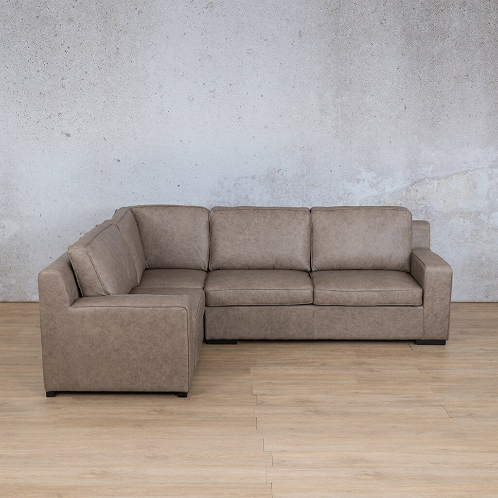 Arizona Leather Couch | L-Sectional 4 Seater | Bedlam Taupe | Leather Gallery