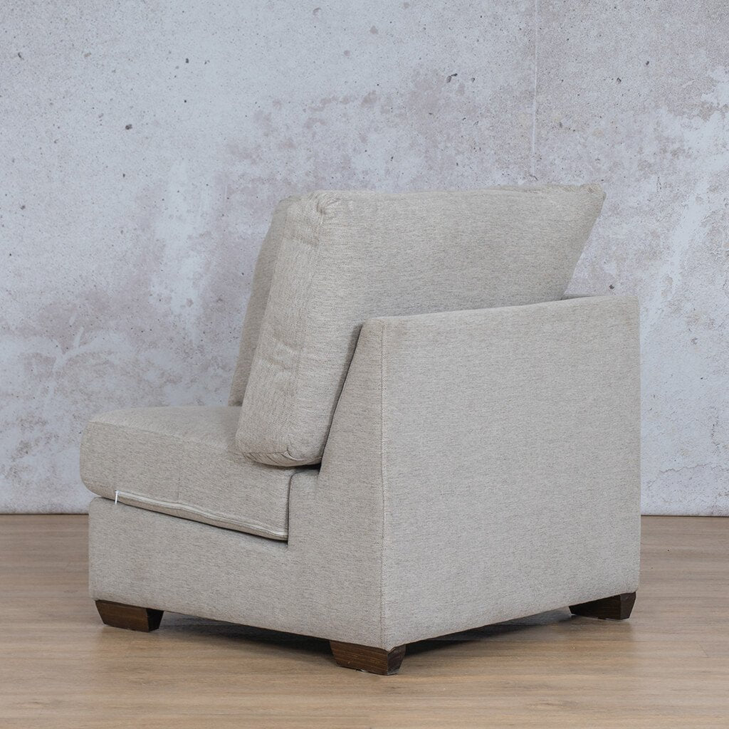 Stanford Fabric Corner Couch | 1 Seater Corner Couch | Pebble | Back Angled | Couches For Sale | Leather Gallery Couches