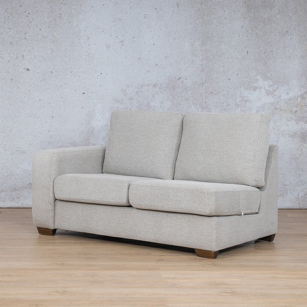 Stanford Fabric Corner Couch | 2 Seater Right Arm | Pebble | Front Angled | Couches For Sale | Leather Gallery Couches