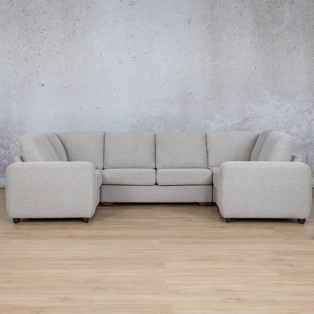 Stanford Fabric Corner Couch | U-Sofa Couch | Pebble | Front Angled | Couches For Sale | Leather Gallery Couches