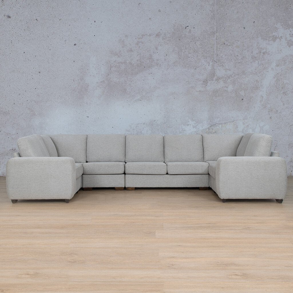 Stanford Fabric Corner Couch | Modular U-Sofa Couch | Pebble | Front Angled | Couches For Sale | Leather Gallery Couches