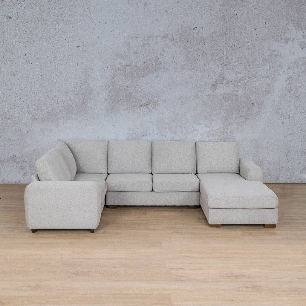 Stanford Fabric Corner Couch | U-Sofa Chaise-RHF | Pebble | Couches For Sale | Leather Gallery Couches