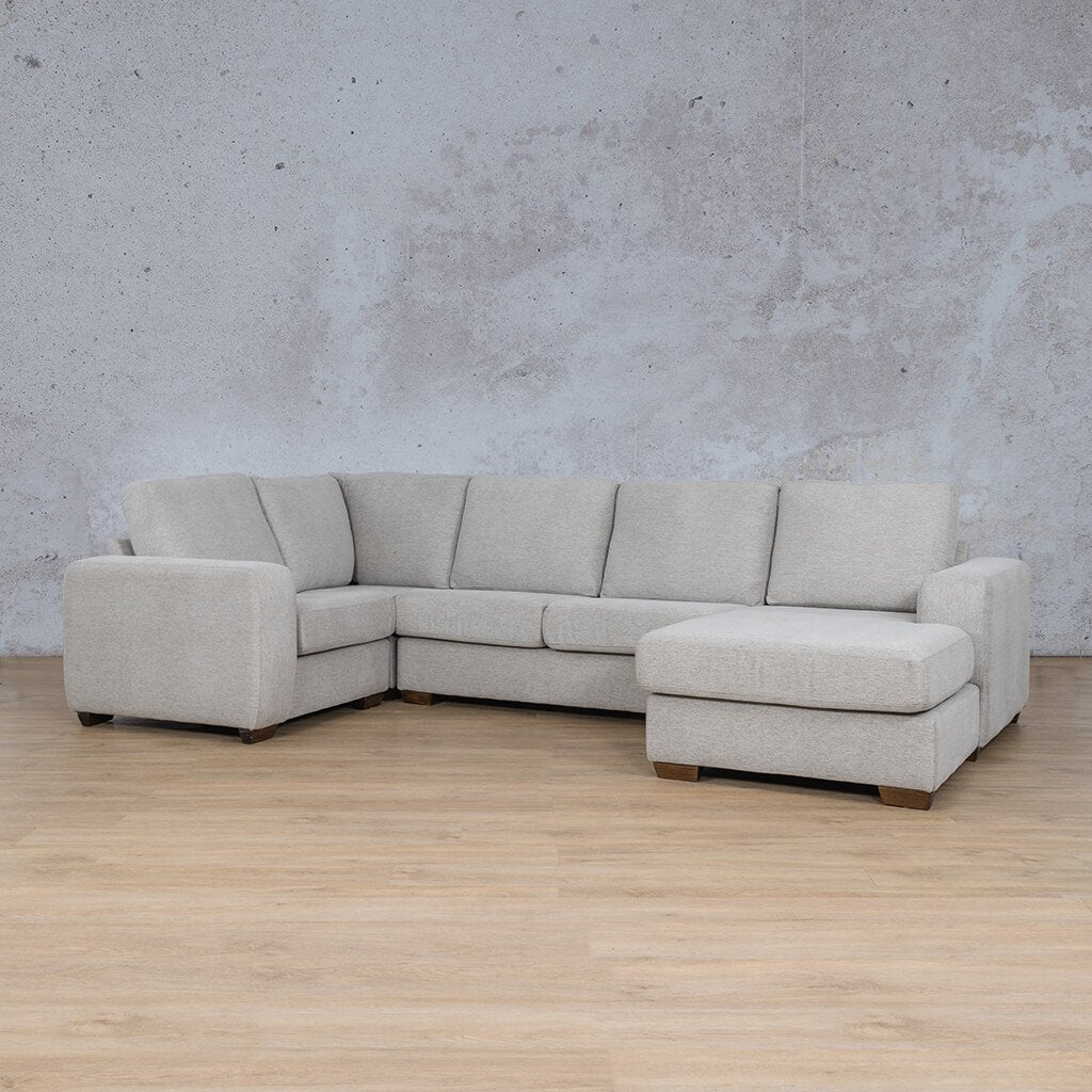 Stanford Fabric Corner Couch | U-Sofa Chaise-RHF | Pebble | Front Angled | Couches For Sale | Leather Gallery Couches