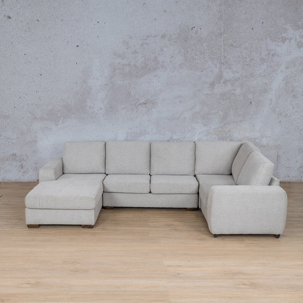 Stanford Fabric Corner Couch | U-Sofa Chaise-LHF | Pebble | Couches For Sale | Leather Gallery Couches