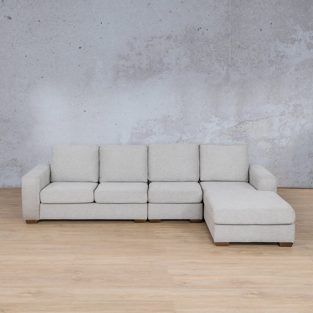 Stanford Fabric Corner Couch | Modular Sofa Chaise-RHF | Pebble | Couches For Sale | Leather Gallery Couches