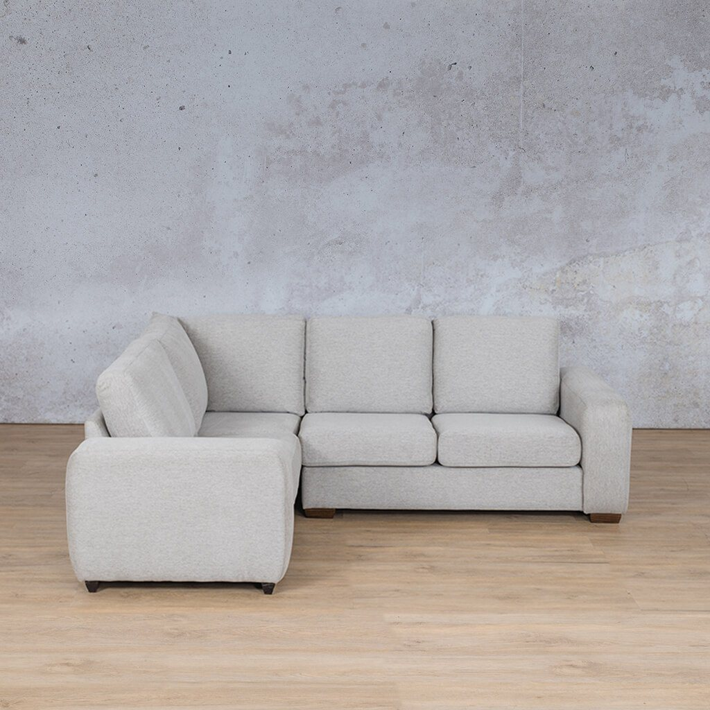 Stanford Fabric Corner Couch | L-Sectional 4 Seater Couch-LHF | Pebble | Front Angled | Couches For Sale | Leather Gallery Couches