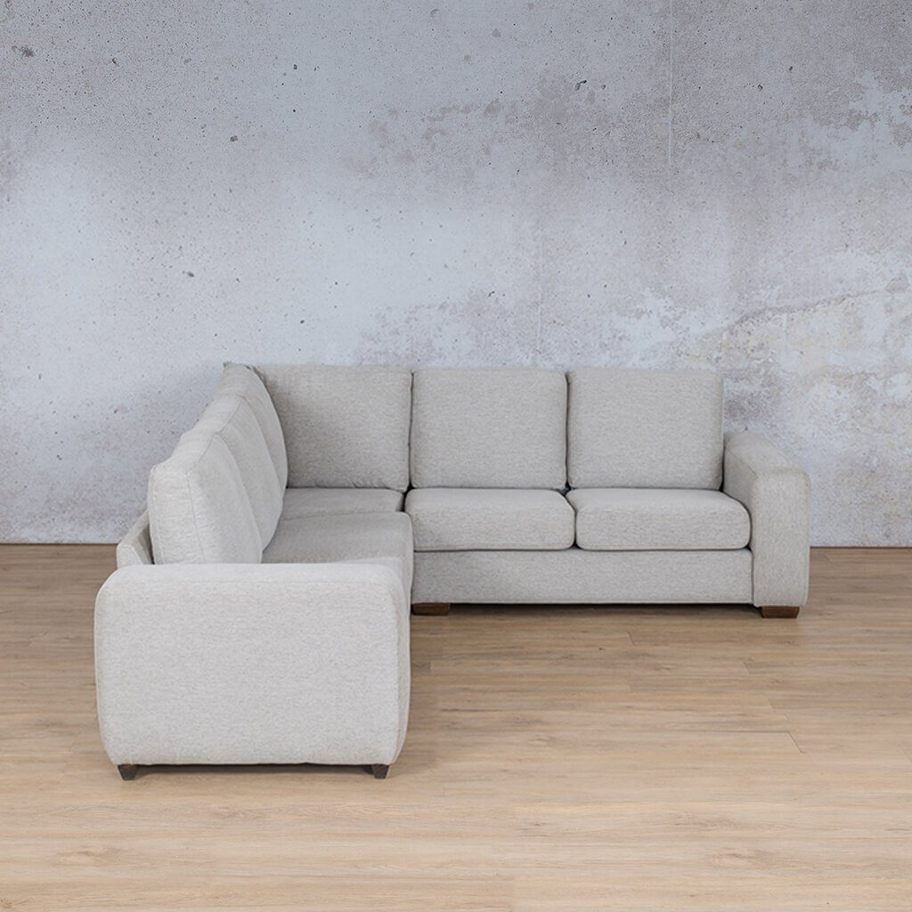 Stanford Fabric Corner Couch | L-Sectional 5 Seater Couch | Pebble | Front Angled | Couches For Sale | Leather Gallery Couches