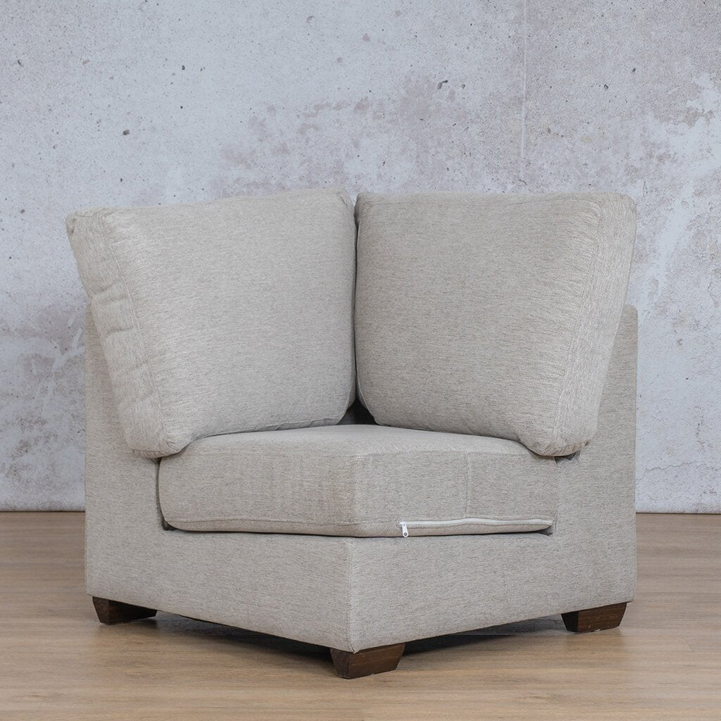 Stanford Fabric Corner Couch | 1 Seater Corner Couch | Pebble | Couches For Sale | Leather Gallery Couches