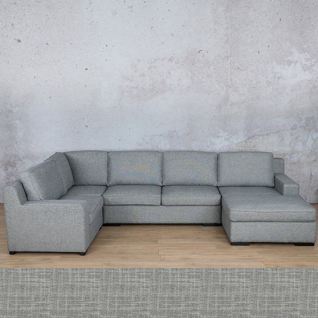 Arizona Fabric | U-Sofa Chaise RHF | Mirage Grey | Leather Gallery
