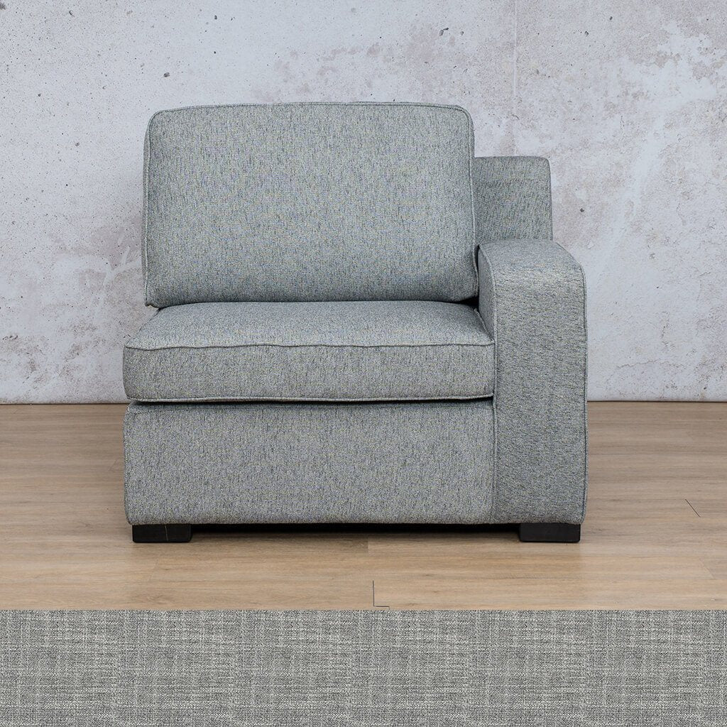 Arizona Fabric | 1 Seater Left Arm | Mirage Grey | Leather Gallery