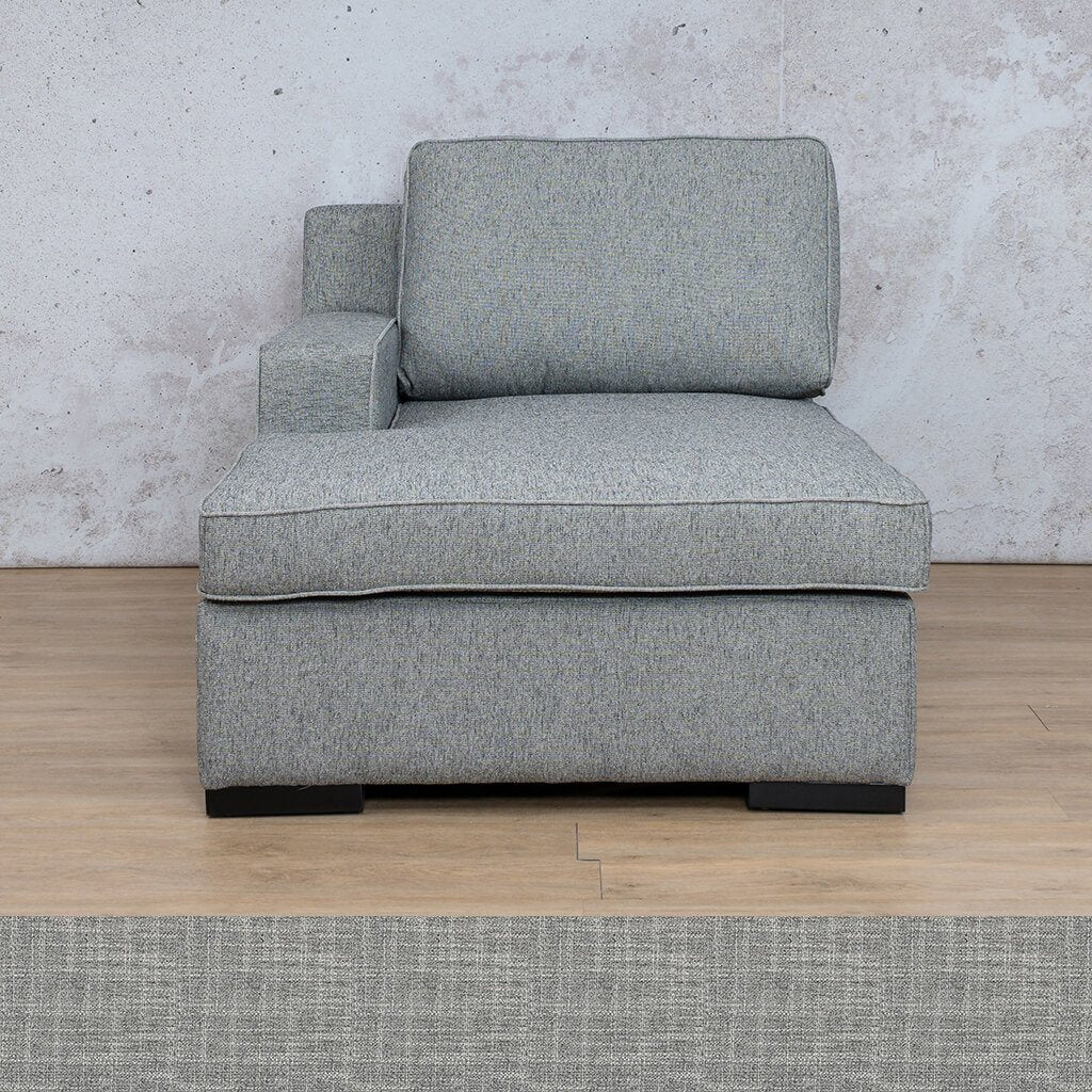 Arizona Fabric | Right Arm Chaise | Mirage Grey | Leather Gallery