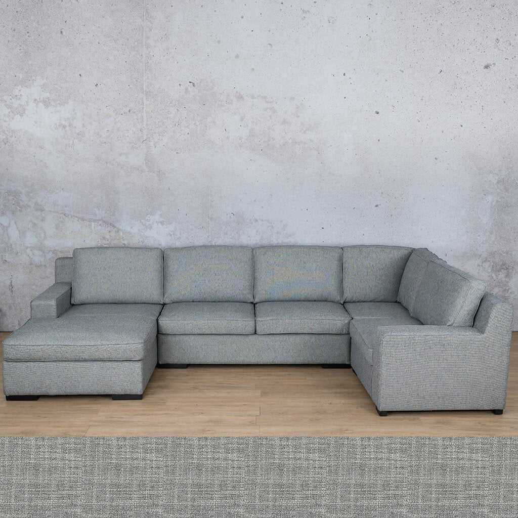 Arizona Fabric | U-Sofa Chaise LHF | Mirage Grey | Leather Gallery