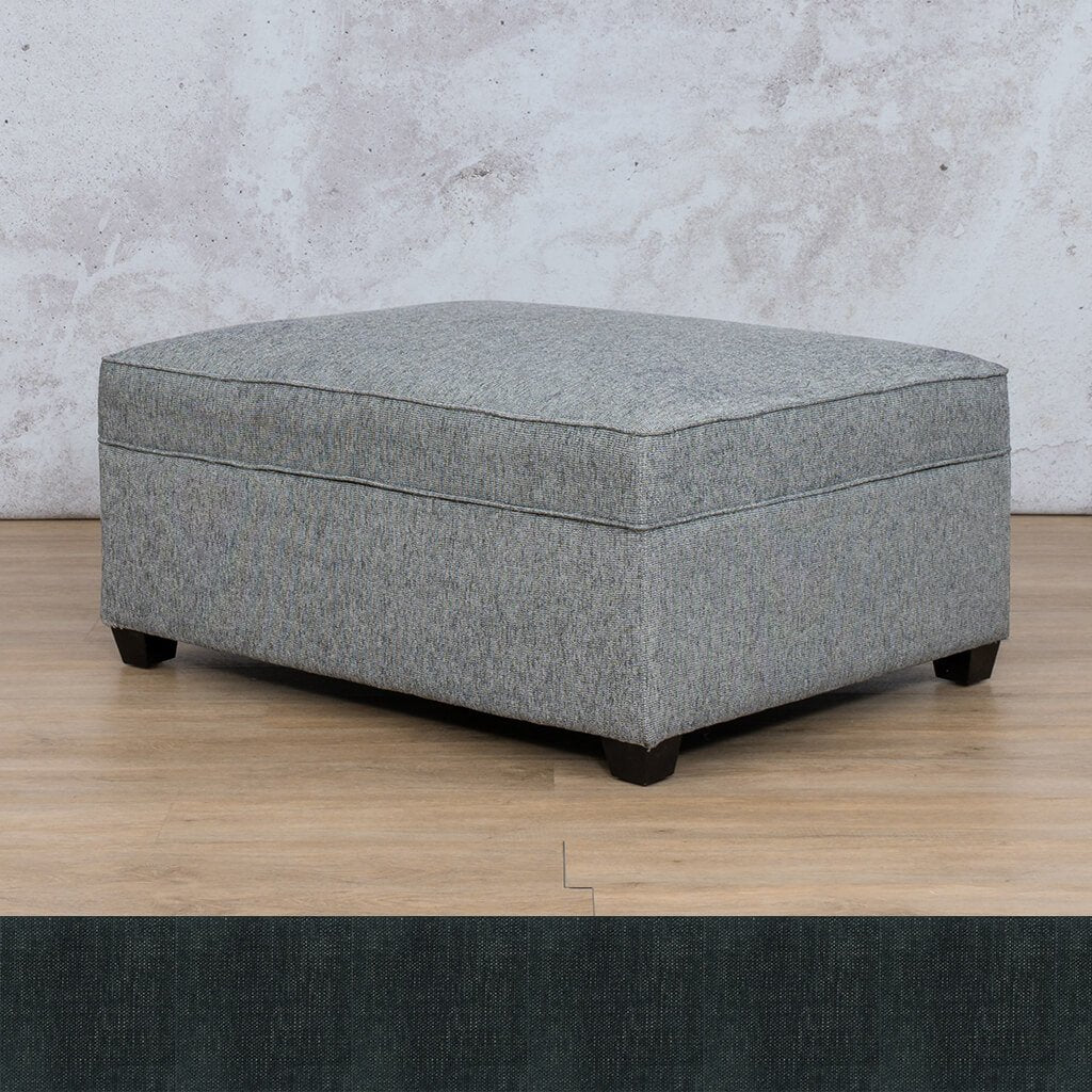 Arizona Fabric | Ottoman | Onyx Black | Leather Gallery