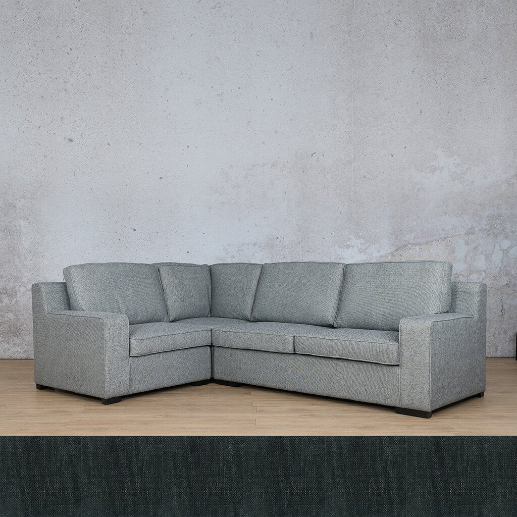 Arizona Fabric | L-Sectional 4 Seater LHF | Onyx Black | Leather Gallery