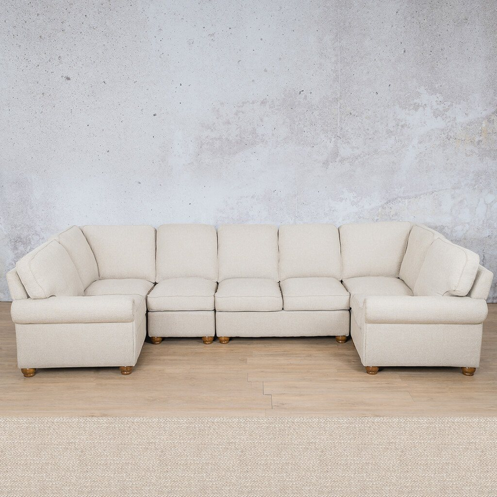 Salisbury Fabric Corner Couch | Modular U-Sofa Sectional | Oyster | Couches For Sale | Leather Gallery Couches