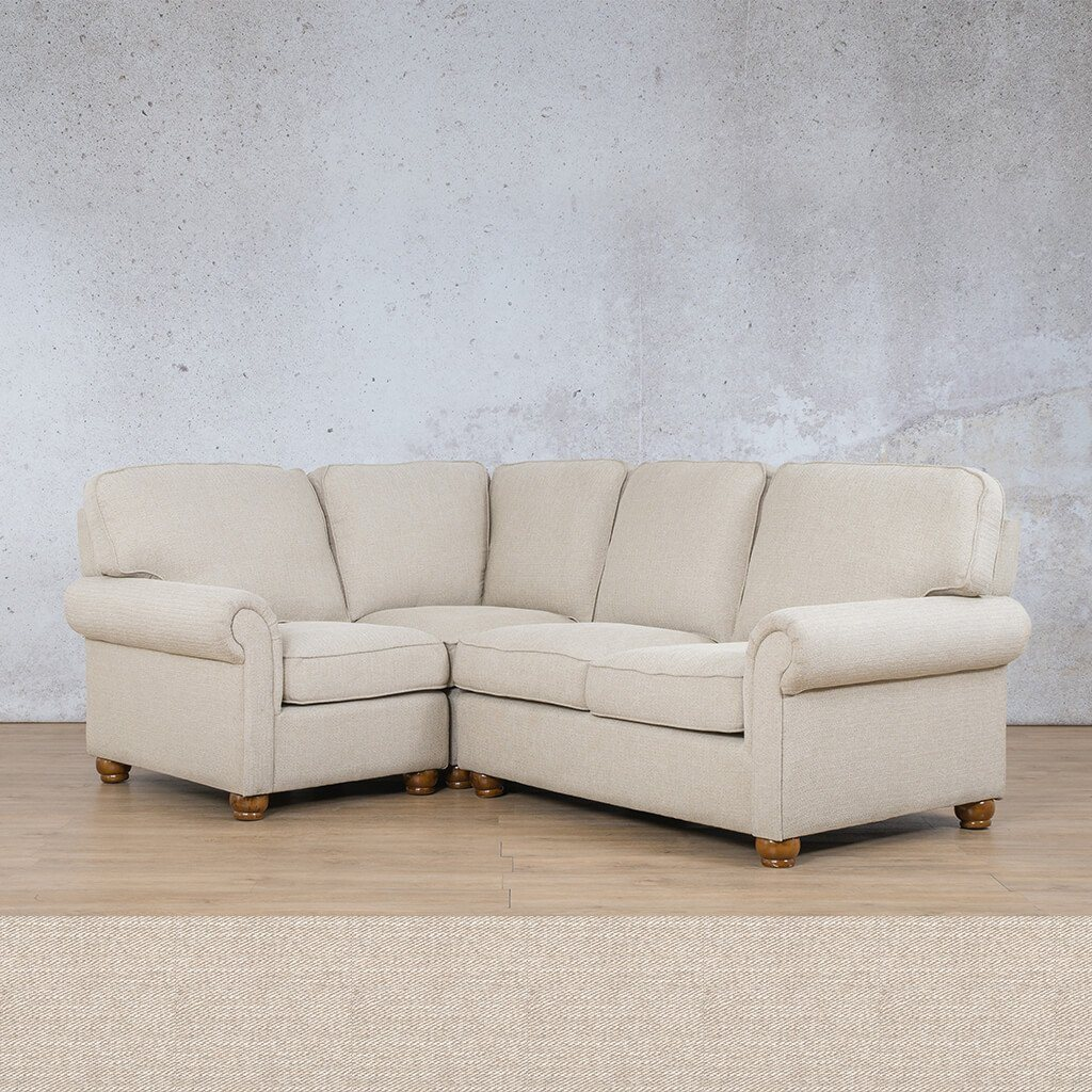 Salisbury Fabric Corner Couch | L-Sectional 4 Seater-LHF | Oyster | Couches For Sale | Leather Gallery Couches