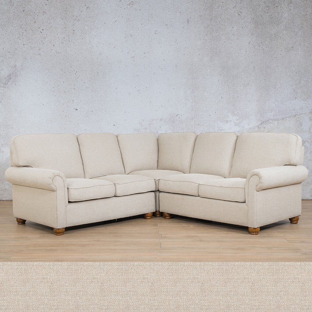 Salisbury Fabric Corner Couch | L-Sectional 5 Seater | Oyster | Couches For Sale | Leather Gallery Couches