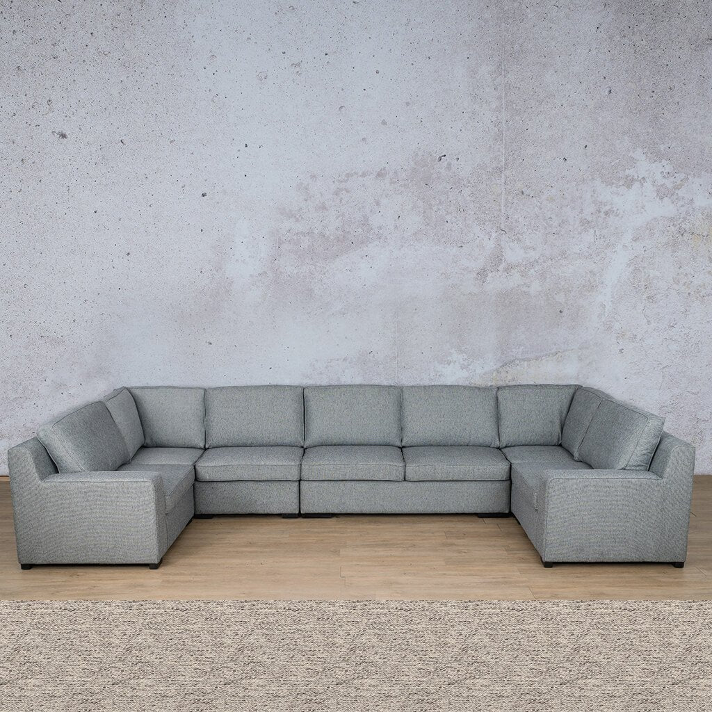 Arizona Fabric Corner Couch | Modular U-Sofa Sectional | Pebble | Couches For Sale | Leather Gallery Couches
