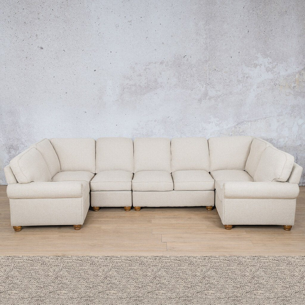 Salisbury Fabric Corner Couch | Modular U-Sofa Sectional | Pebble | Couches For Sale | Leather Gallery Couches