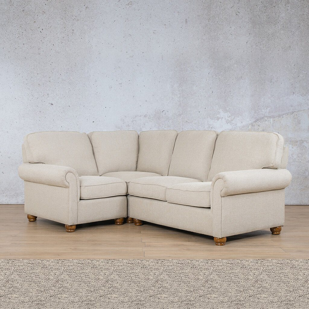 Salisbury Fabric Corner Couch | L-Sectional 4 Seater-LHF | Pebble | Couches For Sale | Leather Gallery Couches