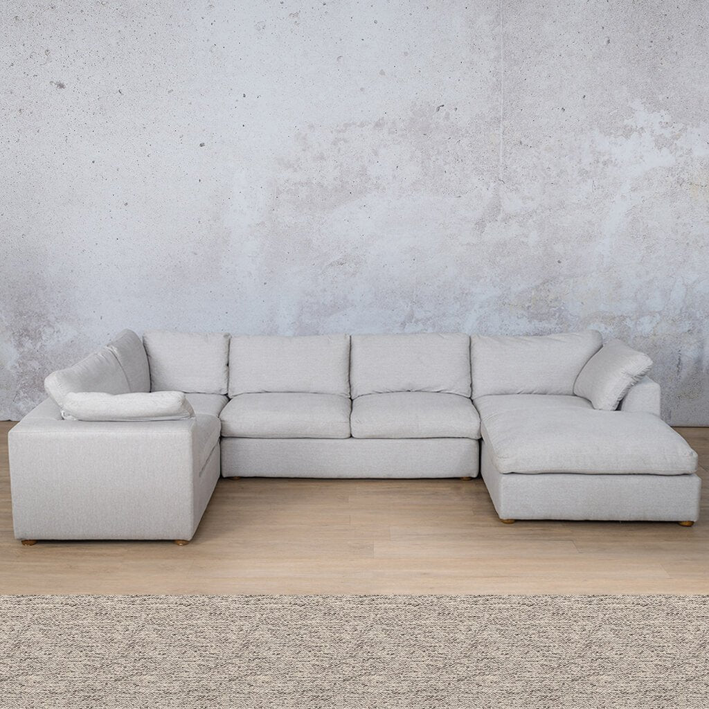Skye Fabric Corner Couch | U-Sofa Chaise Sectional-RHF | Pebble | Couches For Sale | Leather Gallery Couches