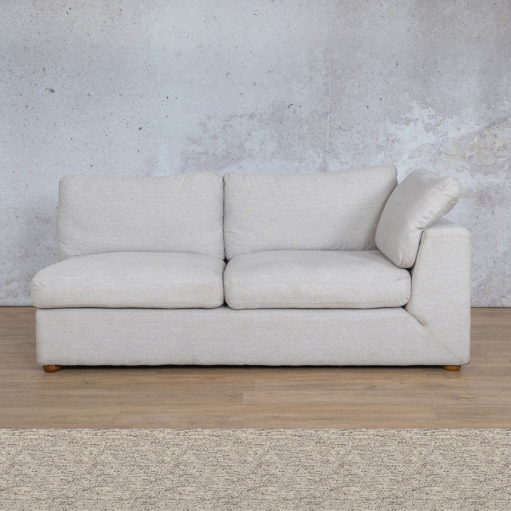 Skye Fabric Corner Couch | 2 Seater Left Arm Couch | Pebble | Couches For Sale | Leather Gallery Couches