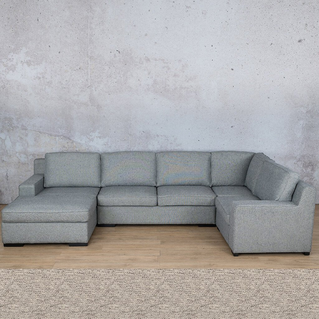 Arizona Fabric Corner Couch | U-Sofa Chaise Sectional-LHF | Pebble | Couches For Sale | Leather Gallery Couches
