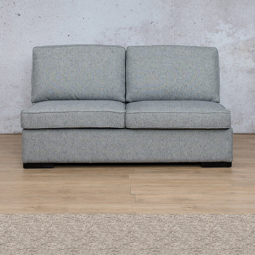 Arizona Fabric | Armless 2 Seater | Pebble | Leather Gallery