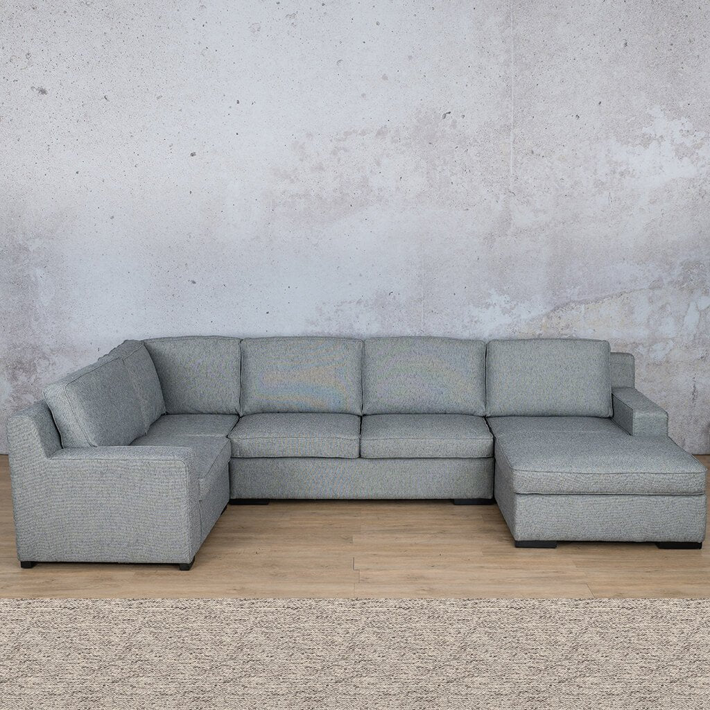 Arizona Fabric Corner Couch | U-Sofa Chaise Sectional-RHF | Pebble | Couches For Sale | Leather Gallery Couches