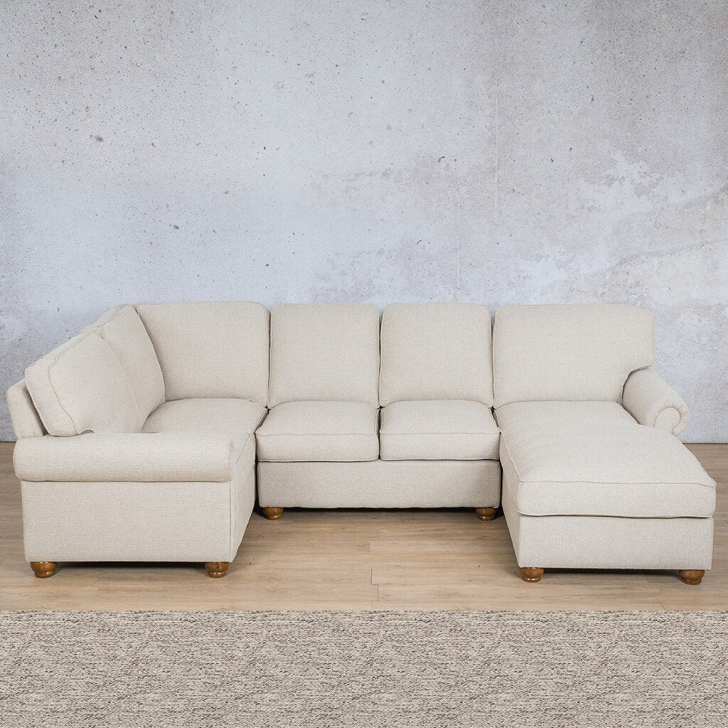 Salisbury Fabric Corner Couch | U-Sofa Chaise Sectional-RHF | Pebble | Couches For Sale | Leather Gallery Couches