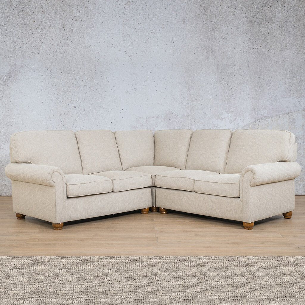 Salisbury Fabric Corner Couch | L-Sectional 5 Seater | Pebble | Couches For Sale | Leather Gallery Couches