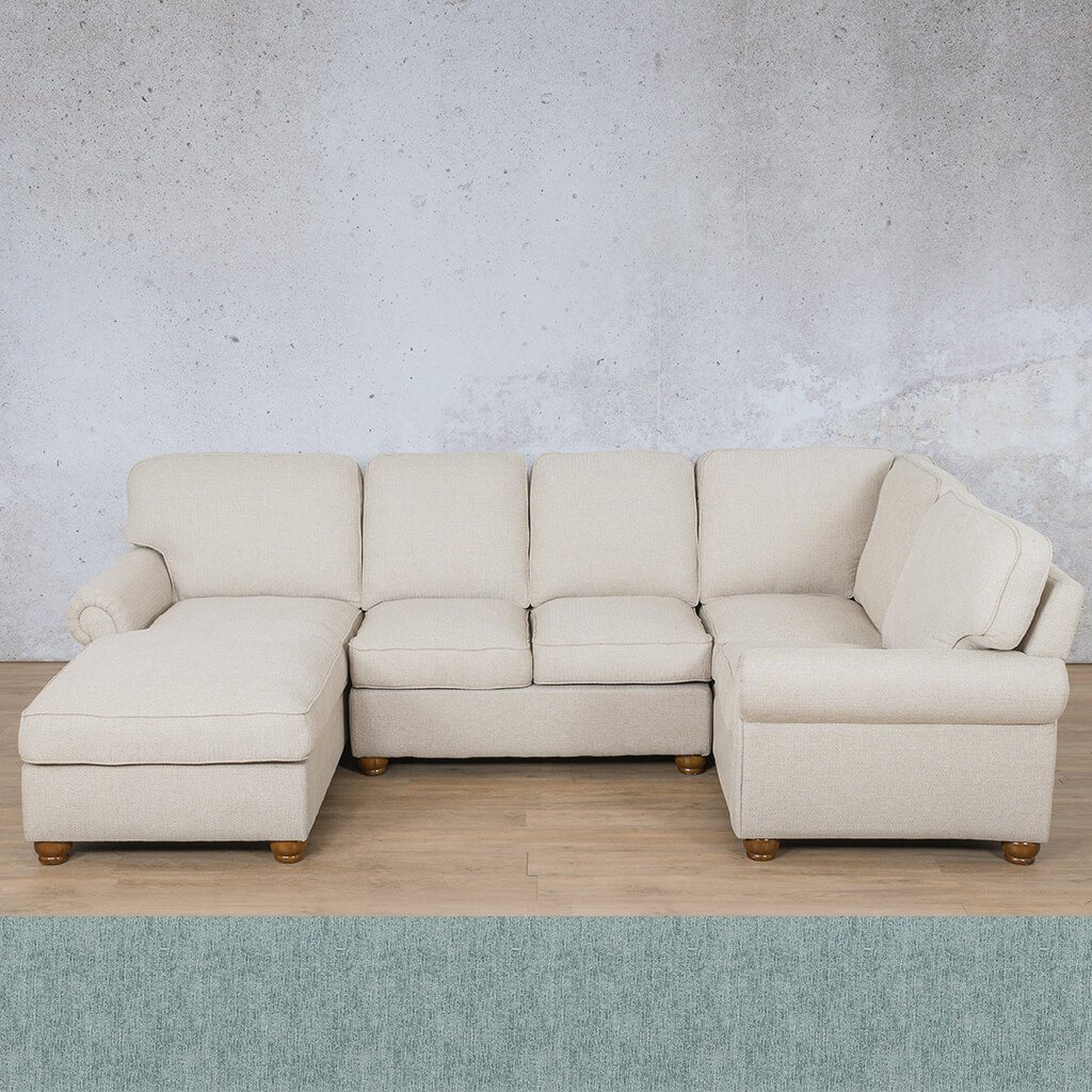 Salisbury Fabric Corner Couch | U-Sofa Chaise Sectional-LHF | Quail Shell | Couches For Sale | Leather Gallery Couches