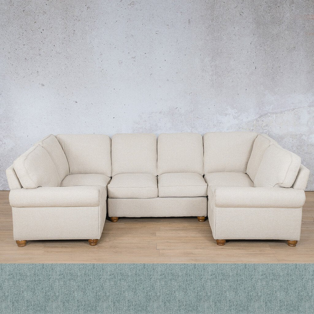 Salisbury Fabric Corner Couch | U-Sofa Sectional Couch | Quail Shell | Couches For Sale | Leather Gallery Couches