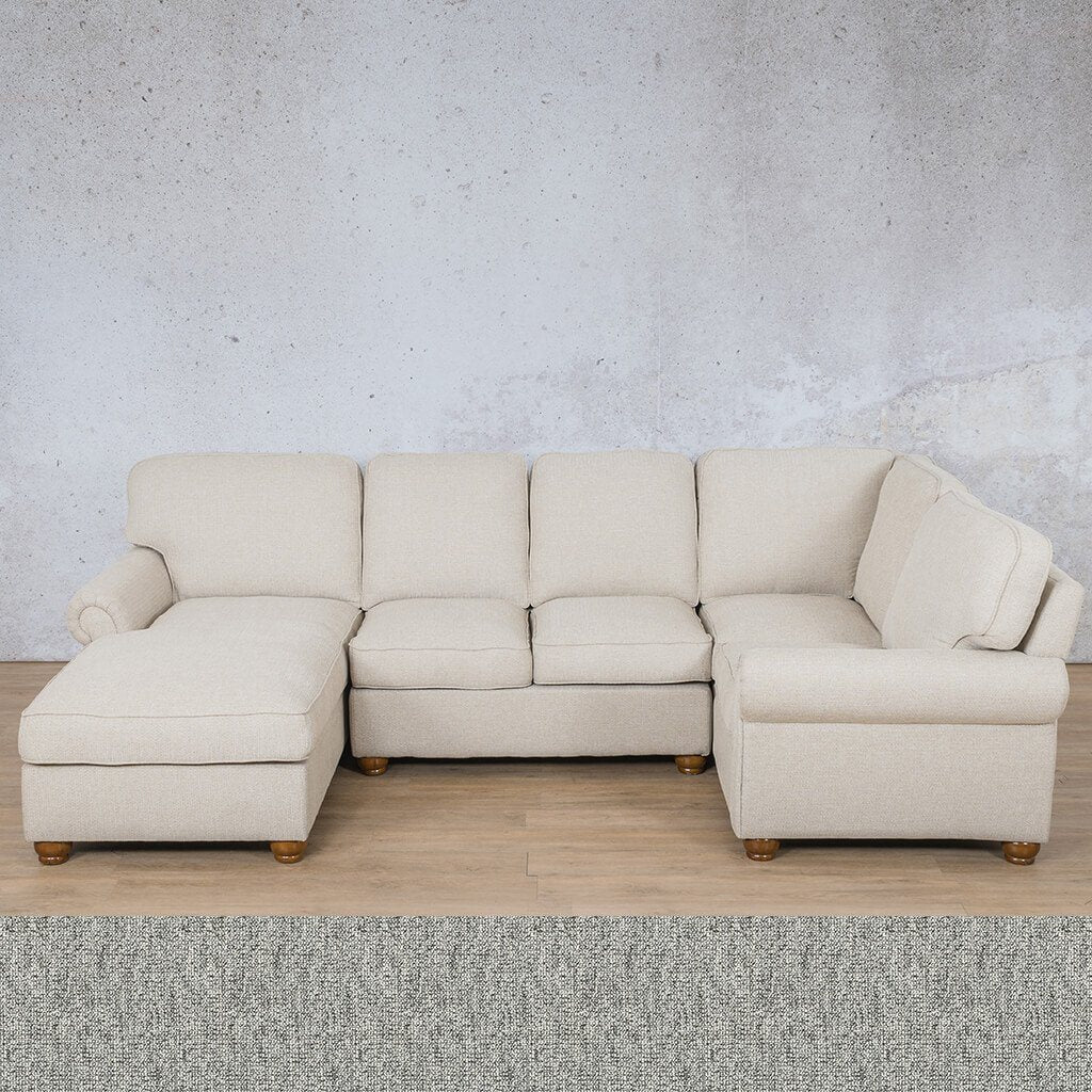Salisbury Fabric Corner Couch | U-Sofa Chaise Sectional-LHF | Quarry Black and White | Couches For Sale | Leather Gallery Couches