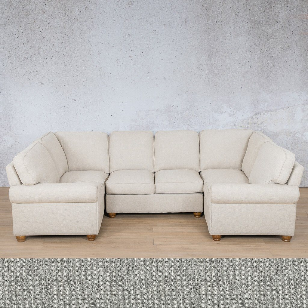 Salisbury Fabric Corner Couch | U-Sofa Sectional Couch | Quarry Black and White | Couches For Sale | Leather Gallery Couches