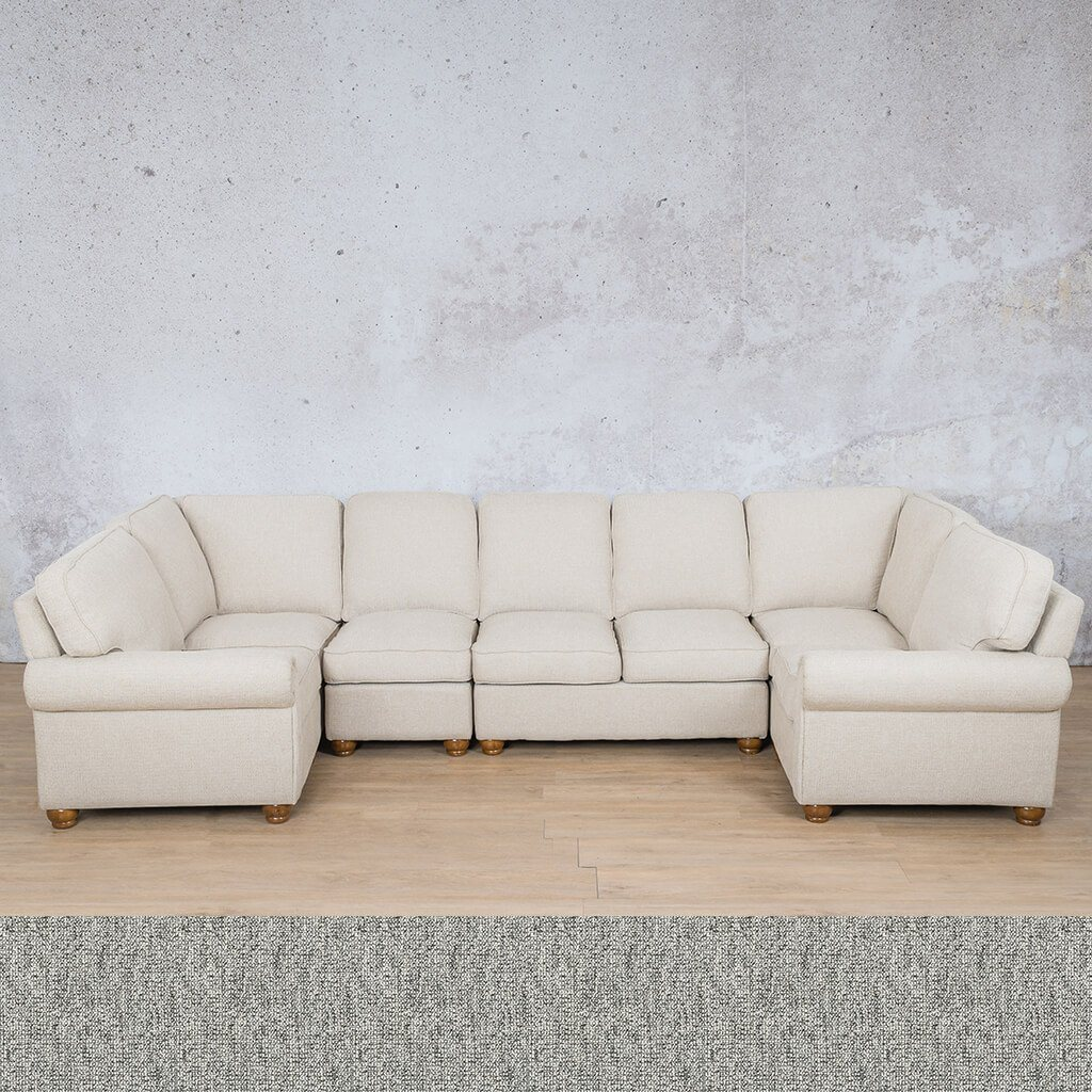 Salisbury Fabric Corner Couch | Modular U-Sofa Sectional | Quarry Black and White | Couches For Sale | Leather Gallery Couches
