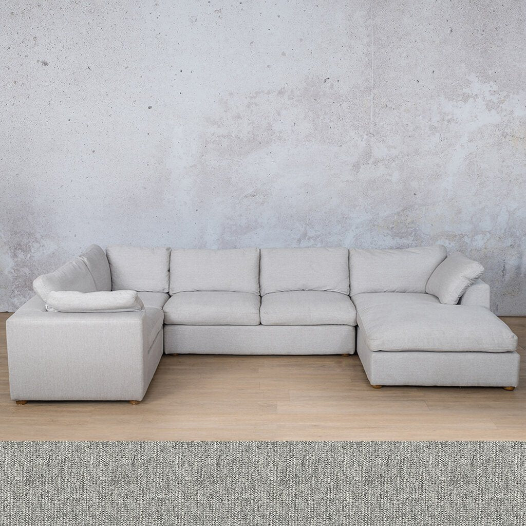 Skye Fabric Corner Couch | U-Sofa Chaise Sectional-RHF | Quarry Black and White | Couches For Sale | Leather Gallery Couches