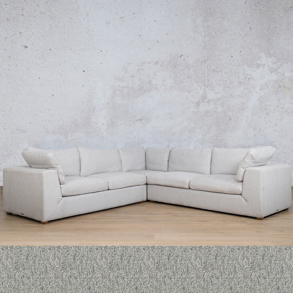 Skye Fabric Corner Couch | L-Sectional 5 Seater | Quarry Black and White | Couches For Sale | Leather Gallery Couches
