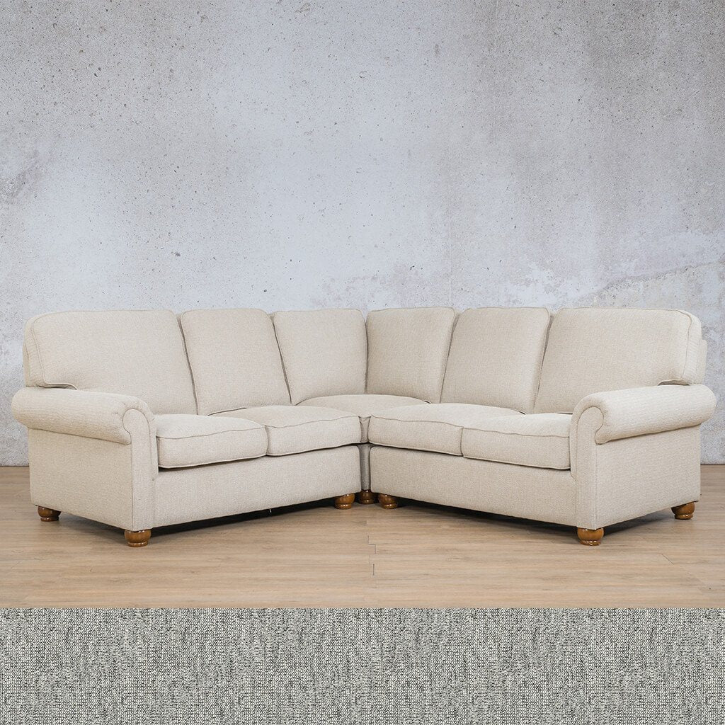 Salisbury Fabric Corner Couch | L-Sectional 5 Seater | Quarry Black and White | Couches For Sale | Leather Gallery Couches