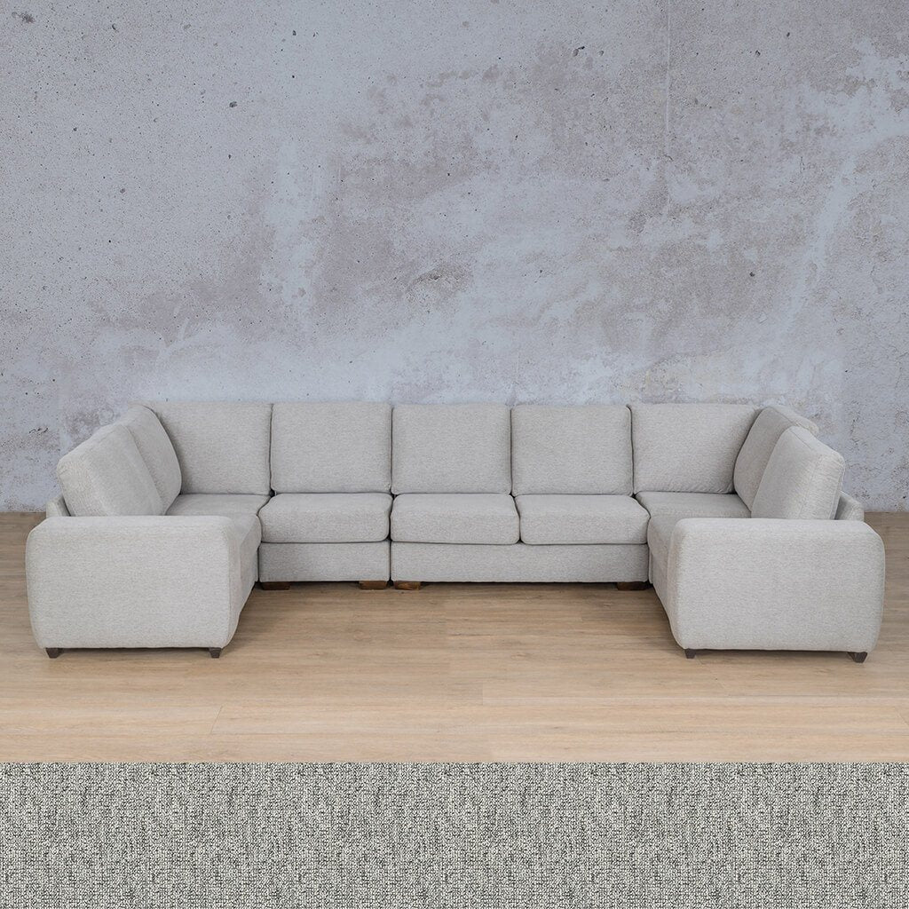 Stanford Fabric Corner Couch | Modular U-Sofa Couch | Quarry Black and White | Couches For Sale | Leather Gallery Couches