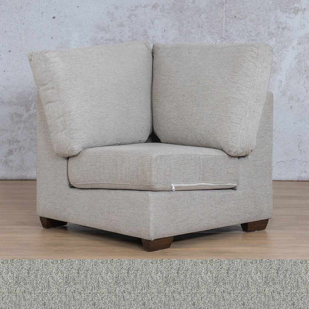 Stanford Fabric Corner Couch | 1 Seater Corner Couch | Quarry Black and White | Couches For Sale | Leather Gallery Couches