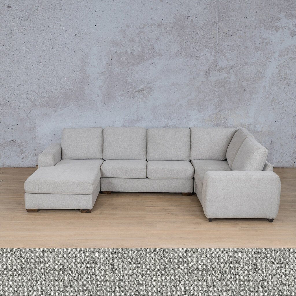 Stanford Fabric Corner Couch | U-Sofa Chaise-RHF | Quarry Black and White | Couches For Sale | Leather Gallery Couches
