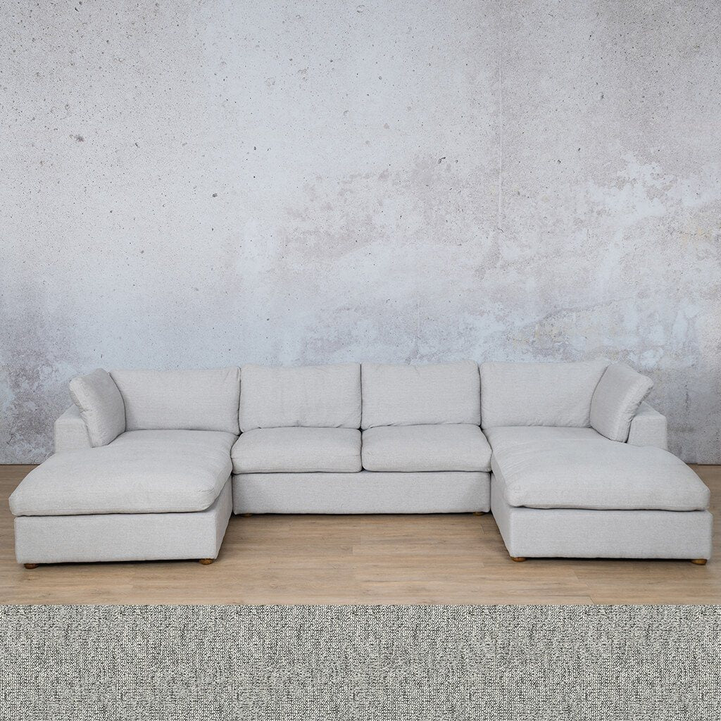 Skye Fabric Corner Couch | U-Sofa Sectional | Quarry Black and White | Couches For Sale | Leather Gallery Couches
