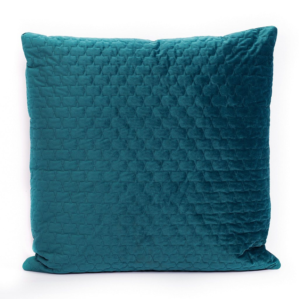 Quilted Blue Cushion | Leather Gallery