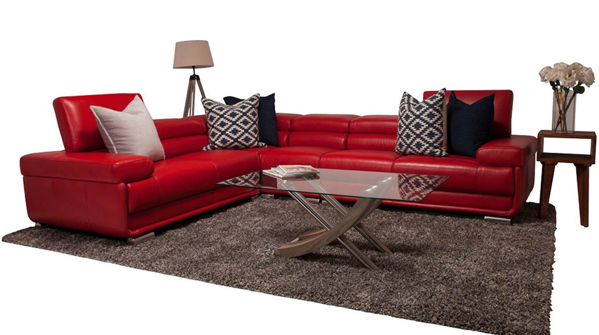 San Miguel Leather Corner Couch | Sectional | Red-SM | Couches For Sale | Leather Gallery Couches