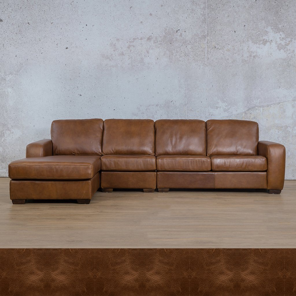 Stanford Leather Modular Sofa Chaise - LHF