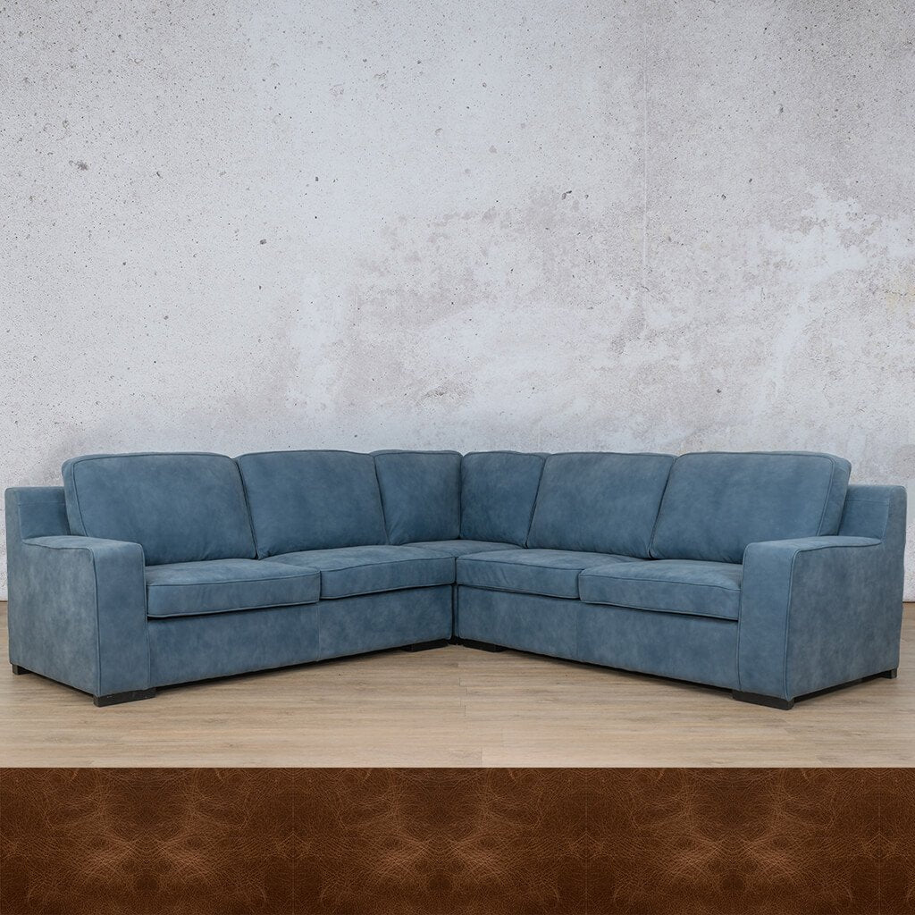 Arizona Leather Couch | L-Sectional 5 Seater | Royal Cognac | Leather Gallery