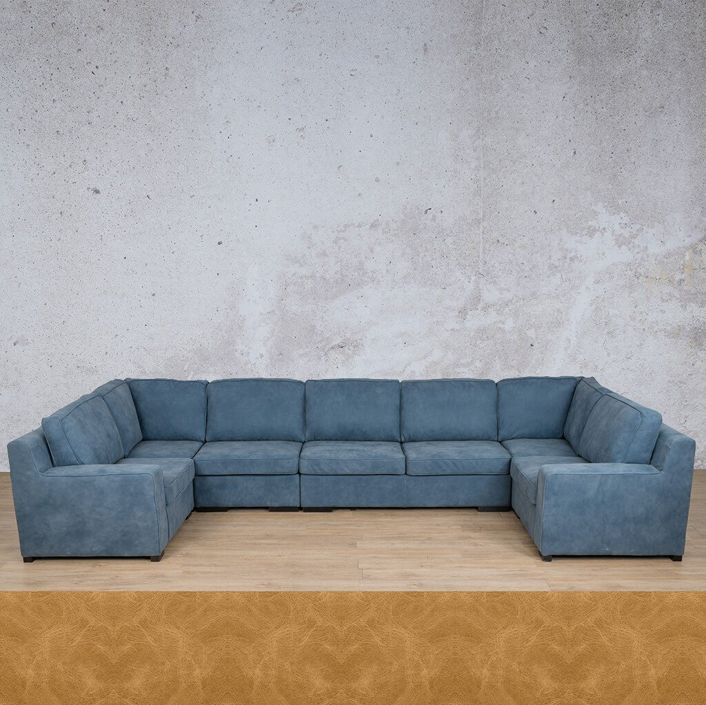 Arizona Leather Couch | Modular U-Sofa | Royal Hazelnut | Leather Gallery