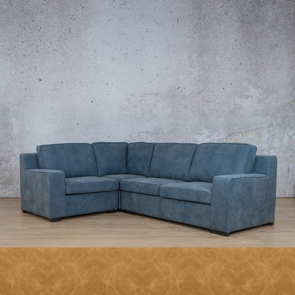 Arizona Leather Couch | L-Sectional 4 Seater | Royal Hazelnut | Leather Gallery