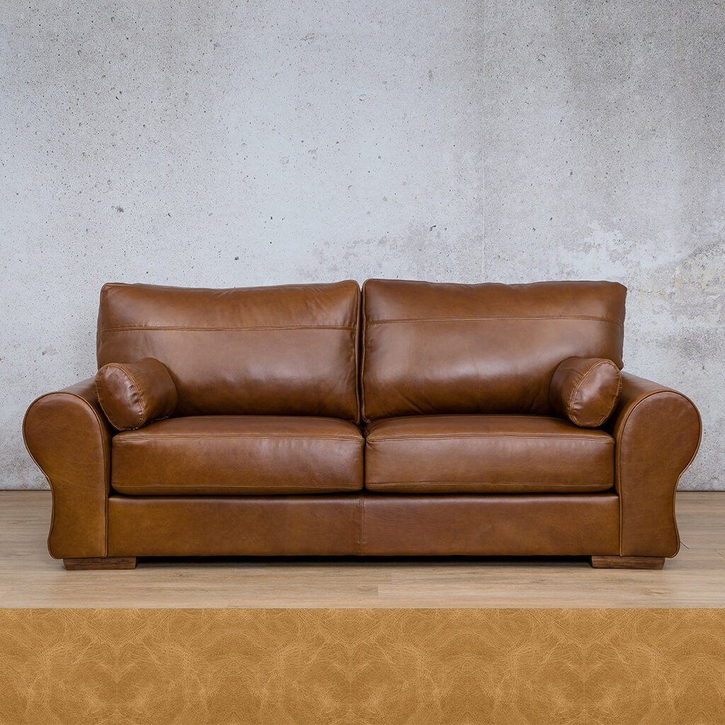 Carolina Leather Couch | 3 Seater | Royal Hazelnut | Leather Gallery